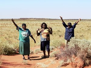 Rangers RA, Joy and Rita happy to be on Mungarlu country.<br/>Photo by Vanessa Westcott
