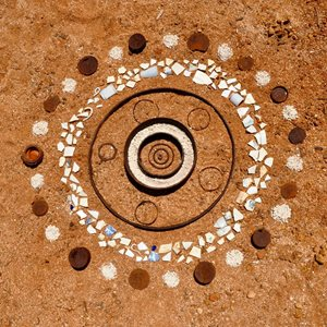 A large circular pattern on the sand. Photo: Sandy McKenrick.<br/>