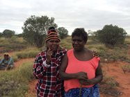 Birriliburu Ranger Rita (left) and Kiwirrkurra Ranger Nolia (right) developed a strong bond.<br/>