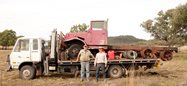 Queensland graziers and Upper Dawson Wildlife Preservation Society members deBurgh Joyce from Theodore and John Hay from Taroom in front of the old truck they have comandeered for restoration.<br/>Photo Alison Wilson.