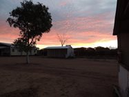 Charles Darwin Reserve Visitor Centre ablutions block at sunset.<br/>