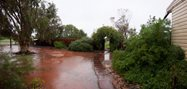 Rain! Rain transforms the homestead yard into one big puddle, Photo by Ben Parkhurst<br/>
