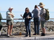 Dr Eric Suosaari talking stromatolites at Hamelin Pool<br/>