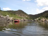 Putting in fish monitoring stations involved paddling in to remote sections of the upper Murrumbidgee, such as this section adjoining Scottsdale Reserve <br/>