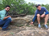 Rice University students Heath and Pankaj point out two individual stromatolites with sizes and shapes analogous to Hamelin Pool stromatolites.<br/>