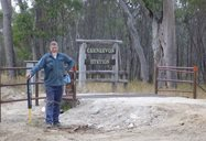 Volunteer Tom Cowling at the Carnarvon boundary gate.<br/>