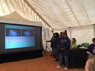 Birriliburu Rangers giving their presentation in a packed Festival tent.<br/>