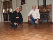 Mick & Tony with the finished floor<br/>
