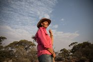 Bush Heritage Project Officer Kate Taylor at Bon Bon. Photo by Carly Earl/The Guardian<br/>