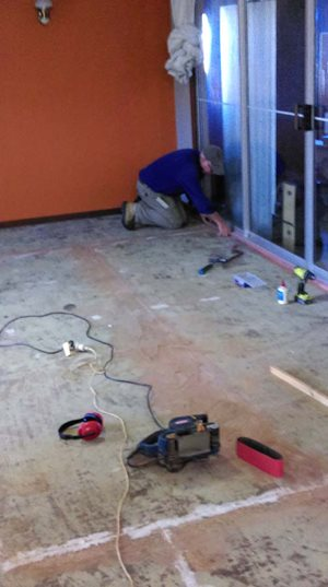 Tony working on the Eurardy Homestead Floor<br/>