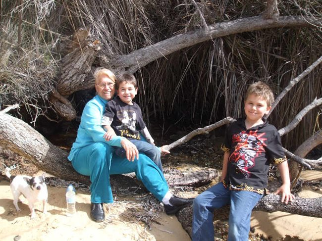 Noongar Traditional Owner Aunty Carol Pettersen with her two grandsons. Photo courtesy of Aunty Carol.