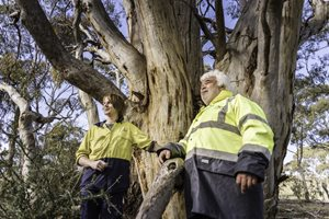 Dja Dja Wurrung Ranger Ron Kerr and field officer Jackson Dunolly. Photo Annette Ruzicka.