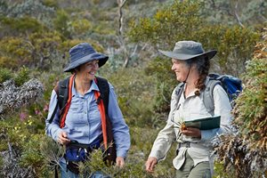 Ecologist Angela Sanders with Libby Sandiford (contractor) surveying at Monjebup. Photo Jessica Wyld Photography.