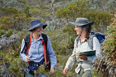 Ecologist Angela Sanders with botanist Libby Sandiford surveying at Monjebup. Photo Jessica Wyld Photography.