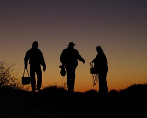 Supporters on Ethabuka Reserve at dusk. Photo Katrina Blake.
