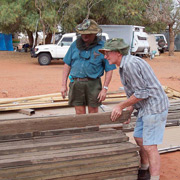 John Hansen and Bob Gleeson sorting timber at Ethabuka. Photo Al Dermer.