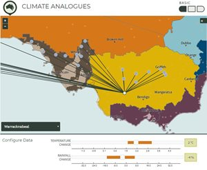 An example of the output from the Climate Analogues tool, showing analogues for Warracknabeal at RCP 4.5, maximum consensus for a 2090 projection.
