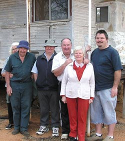 The Lockyer boys and family in front of the old White Wells homestead, their first home. Photo Kurt and Andrea Tschirner.