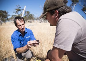 Sam Riggall with Bush Heritage ecologist Dr Matt Appleby. Photo Annette Ruzicka.