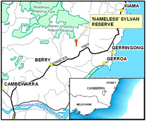 A map showing the location of our new 'Nameless' reserve in NSW.