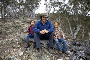 Scottsdale Reserve Manager Phil Palmer with his daughters Skye and Laila. Photo Anna Carlile.