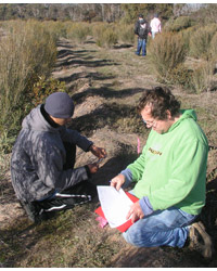 Noongar students surveying the revegetation areas. Photo Joe Dortch.