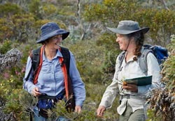 Ecologist Angela Sanders (left) with botanist Libby Sandiford. Photo Jessica Wyld Photography