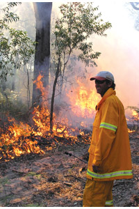 Monitoring the controlled burn. Photo Steve Heggie.