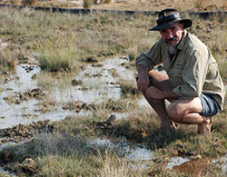 Dr Adam Kerezy in a spring at Edgebaston Reserve. Photo Alison Wheeler