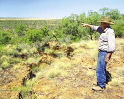 Allan Wills pointing out the landmarks from the Alice Tableland escarpment overlooking the property. Photo Wayne Lawler / EcoPix.