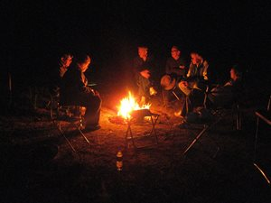 Around the campfire at Naree. Photo Dave and Sue Akers.
