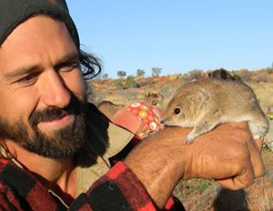 Ecologist Max Tischler with a Mulgara. Photo Australian Desert Expeditions (www.desertexpeditions.org)