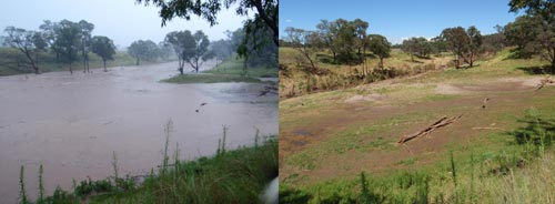Channin Creek during and after flooding