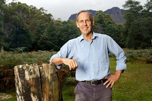 Dr Bob Brown in the Liffey Valley, Tasmania. Photo Peter Morris.