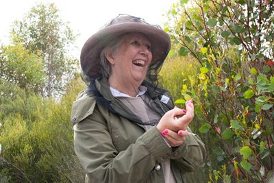 Writer Jane Caro delights at her first encounter with a Honey Possum, or Noolbenger in Noongar. Photo Katelyn Reynolds.
