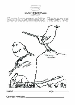 Colouring in sheet for Boolcoomatta Reserve.