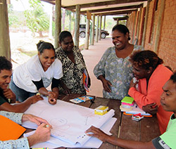 Naomi Hobson (second from left) and Joanne Omeenya (fourth from left) facilitate Healthy Country Planning with Umpila families. Photo by Stuart Cowell