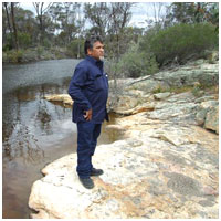 Noongar Elder Eugene Eades on Peniup Creek. Photo: David Guilfoyle.