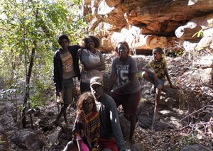 One of the Traditional Owners of Baby Dreaming Country, Conrad Maralngurra, with his family at a survey site.