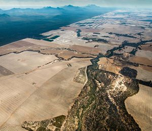 Cleared farmland surrounds the southwest corner of Stirling Range National Park, WA, in the Gondwana Link Landscape.