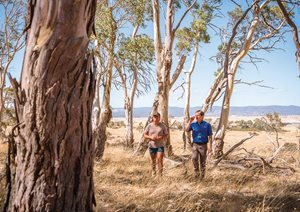 Bush Heritage ecologist Matt Appleby with Midlands farmer Sam Riggall, on Sam's property. Photo Annette Ruzicka.