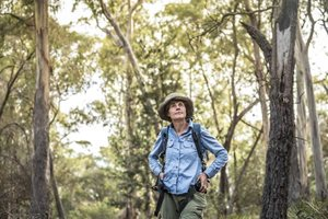 Tasmanian Reserves Manager Annette Dean, at home in the Tasmanian bush. Photo Annette Ruzicka.
