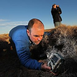 Establishing a reliable survey method has been one of Dr Murphy's highest priorities in researching the Night Parrot. Photo The Australian