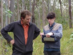 Staff members Jim Radford and Clair Dougherty undertaking vegetation survey in eucalypt woodlands of Yourka Reserve, Qld. Photo Jen Grindrod.