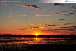 Sunset over wetlands at Naree Station Reserve, New South Wales