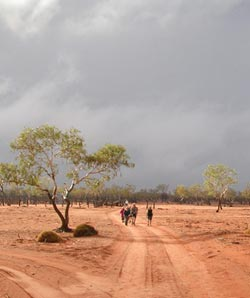 A brewing storm at Ethabuka in June 2005 began another desert cycle of plenty. Photo Katrina Blake.