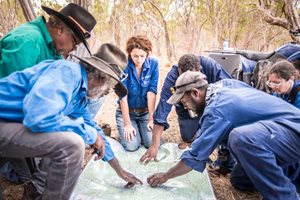 Olkola working with Allana Brown, Bush Heritage ecologist. Photo by Annette Ruzicka.