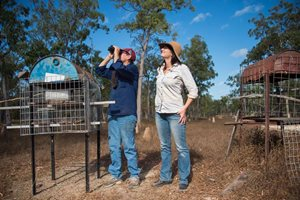 Sue Shephard and Ecologist Allana Brown with Alwal feeding stations.
