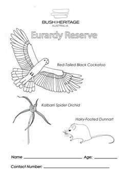 Colouring in sheet for Eurardy Reserve (WA).