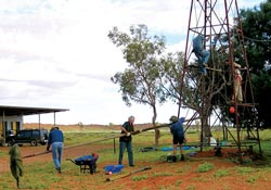 Volunteers repairing the Ethabuka windmill. Photo John and Lyla Hansen.